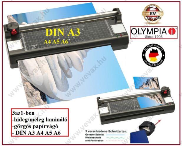 OLYMPIA A 340 LAMINÁLÓ + PAPÍRVÁGÓ combó A3 A4 A5 A6 hideg / meleg LAMINÁLÓGÉP 2 év GARANCIA
