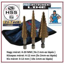 3db-os ProInstrument HSS TITAN 4-20mm 1-9 LÉPCSŐS FÉMFÚRÓ KÉSZLET 2mm LÉPCSŐ 3-12 4-12 4-20mm FÚRÓ SZETT