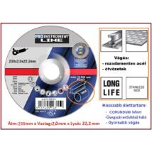 INOX 230x2,0mm ProInstrument LongLife 230x2,0x22,2mm FÉMVÁGÓ KORONG 230 mm x2 mm FLEXKORONG ROZSDAMENTES ACÉLHOZ FÉMHEZ INOX VÁGÓKORONG