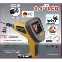 """ProInstrument SZÍNES TFT 2,4"""" LCD MONITOR ENDOSZKÓP KAMERA 9mm / 1 méter AV/OUT VGA 640x480 IP67 VÍZÁLLÓ 2 év GARANCIA"""