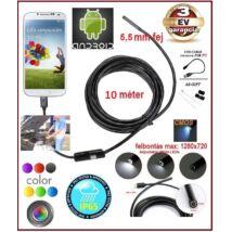 AnDroid SZÍNES 10 méter / 5,5 mm OKOSTELEFON ENDOSZKÓP KAMERA USB / TABLET / PC / CMOS OBJEKTÍV IP67 VÍZÁLLÓ 6x SMD LED FOTÓ / VIDEÓ 3 év GARANCIA