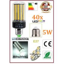 ProInstrument Pro 40x SMD E27 5W LED IZZÓ HIDEG fényű + BÚRÁVAL KUKORICA 3 év GARANCIA