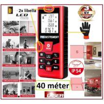 ProInstrument Precision 40m LÉZERES TÁVOLSÁGMÉRŐ 40 méter 20 memória LCD 4 SOROS DIGITÁLIS IP54 vízálló 0,05 - 40m távolságmérés 3 év GARANCIA