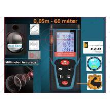 ProInstrument DualSensor 60m LÉZERES TÁVOLSÁGMÉRŐ 60 méter 30 memória LCD 4 SOROS DIGITÁLIS IP54 vízálló 0,05 - 60m távolságmérés 3 év GARANCIA