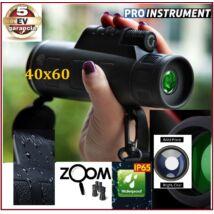 ProInstrument 40x60 ZOOM TÁVCSŐ MONOKULÁRIS BAK4 optika Dual Focus Night Vision MONOKULÁR TELESZKÓP 5 év GARANCIA