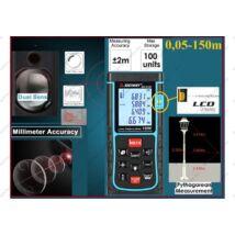 150m ProInstrument RZD DualSensor LÉZERES TÁVOLSÁGMÉRŐ 150 méter 100 memória LCD 4 SOROS DIGITÁLIS IP54 vízálló 0,05 - 150m távolságmérés 3 év GARANCIA
