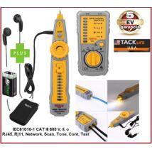 TackLife CAT III 600V LAN RJ45 RJ11 MŰSZER + füllhallgatóval UTP Ethernet Network KÁBEL TESZTELŐ VEZETÉKKERESŐ MÉRŐ 5 év GARANCIA