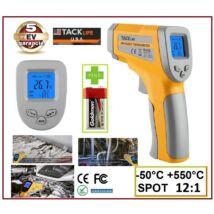 TackLife -50 +550°C LÉZERES INFRA HŐMÉRŐ PISZTOLY 12:1 OPTIKA DIGITÁLIS LCD KIJELZŐVEL INFRAVÖRÖS 5 év GARANCIA