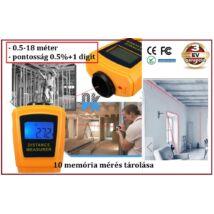 18m Mini ULTRAHANGOS LÉZERES TÁVOLSÁGMÉRŐ 18 méter LCD DIGITÁLIS 0,5 - 18m távolságmérés 3 év GARANCIA