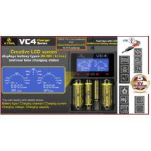 XTAR VC4 Pro USB DIGITÁLIS AKKUTÖLTŐ Li-ION Ni-MH MULTIFUNCIÓS 4 cellás AUTOMATA GYORSTÖLTŐ LCD AA AAA CERUZA STB. 5 év GARANCIA