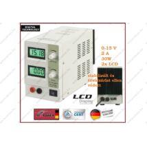 MPOWER STABILIZÁLT LABORTÁPEGYSÉG 0-15V 0-2A 30W SZABÁLOYZHATÓ DIGITÁLIS 2 soros LCD