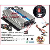 ProInstrument 12V -ról >> 2db 230V -ra + USB 1600W / 800W FESZÜLTSÉGÁTALAKÍTÓ INVERTER AUTÓS ÁRAMÁTALAKÍTÓ 12/230V KONVERTER