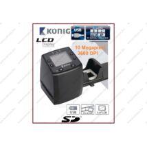KÖNIG 10MP LCD monitoros USB FILMSZKENNER 35mm DIGITALIZÁLÓ FILM ÉS DIA SZKENNER FILMOLVASÓ DIASZKENNER CL-FS20 2 év GARANCIA