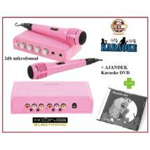 KÖNIG rózsaszín KARAOKE BERENDEZÉS KEVERŐ MIXER KÉSZLET 2db MIKROFONNAL + ajándék KARAOKE DVD lemezzel HAV-KM11P 2 év GARANCIA