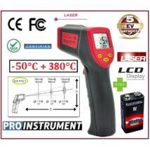 ProInstrument -50 +380°C LÉZERES INFRA HŐMÉRŐ PISZTOLY 12:1 OPTIKA DIGITÁLIS LCD KIJELZŐVEL INFRAVÖRÖS