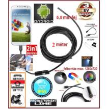 2in1 ProInstrument AnDroid 2 méter / 5,5mm OKOSTELEFON ENDOSZKÓP KAMERA OTG USB / Micro USB / TABLET / PC / CMOS OBJEKTÍV IP67 VÍZÁLLÓ 6x SMD LED FOTÓ / VIDEÓ 3 év GARANCIA