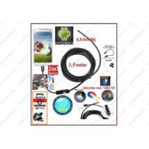 2in1 ProInstrument AnDroid 3,5 méter / 5,5mm OKOSTELEFON ENDOSZKÓP KAMERA OTG USB / Micro USB / TABLET / PC / CMOS OBJEKTÍV IP67 VÍZÁLLÓ 6x SMD LED FOTÓ / VIDEÓ 3 év GARANCIA
