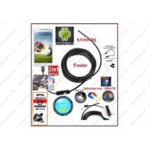 2in1 ProInstrument AnDroid 5 méter / 5,5mm OKOSTELEFON ENDOSZKÓP KAMERA OTG USB / Micro USB / TABLET / PC / CMOS OBJEKTÍV IP67 VÍZÁLLÓ 6x SMD LED FOTÓ / VIDEÓ 3 év GARANCIA