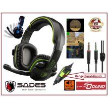 SADES SA-708 Pro GAME HEADSET MIKROFONOS FEJHALLGATÓ HANGERŐSZABÁLYZÓVAL 2,2m kábellel számítógépes játékosoknak 3 év GARANCIA