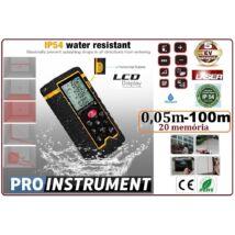 100m ProInstrument Practic LÉZERES TÁVOLSÁGMÉRŐ 100 méter LCD 4 SOROS DIGITÁLIS IP54 vízálló 0,05 - 100m távolságmérő