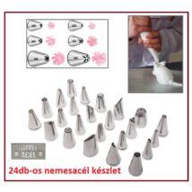 24db-os SÜTEMÉNY TORTA DÍSZÍTŐ KÉSZLET NEMESACÉL ROZSDAMENTES DEKORÁCIÓS FORMÁZÓ SZETT