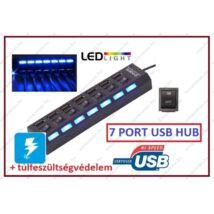HighSpeed 7 PORT USB 2.0 HUB 7x KAPCSOLÓS TÚLFESZÜLTSÉGVÉDŐ LED fényű ELOSZTÓ 2 év GARANCIA