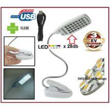 USB LÁMPA 28x SMD LED-es FLEXIBILIS CSIPTETŐS PC NOTEBOOK LAPTOP OLVASÓLÁMPA HAJLÉKONY HATTYÚNYAKAS 3 év GARANCIA