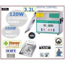 ProInstrument DigitaL INOX Heating IPARI 3,2 Literes 120W ULTRAHANGOS TISZTÍTÓ GÉP + MELEGÍTŐ FUNKCIÓVAL 20-80°C HŐFOKSZABÁLYZÓS DIGITÁLIS MOSÓ 5 programos