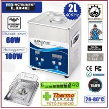ProInstrument DigitaL40K INOX Heating IPARI 2 Literes 60W ULTRAHANGOS TISZTÍTÓ GÉP + MELEGÍTŐ FUNKCIÓVAL 20-80°C HŐFOKSZABÁLYZÓS DIGITÁLIS MOSÓ 5 programos
