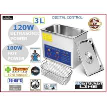 ProInstrument DigitaL40K INOX Heating IPARI 3 Literes 120W ULTRAHANGOS TISZTÍTÓ GÉP + MELEGÍTŐ FUNKCIÓVAL 20-80°C HŐFOKSZABÁLYZÓS DIGITÁLIS MOSÓ 2 év GARANCIA