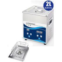 ProInstrument DigitaL40K INOX Heating IPARI 2 Literes 70W ULTRAHANGOS TISZTÍTÓ GÉP + MELEGÍTŐ FUNKCIÓVAL 20-80°C HŐFOKSZABÁLYZÓS DIGITÁLIS MOSÓ 5 programos