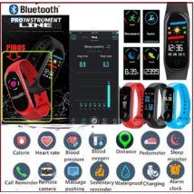 ProInstrument E-Health SZÍNES Bluetooth PULZUSMÉRŐ VÉRNYOMÁSMÉRŐ OKOSÓRA VÍZÁLLÓ LÉPÉSSZÁMLÁLÓ VÉROXIGÉN OKOS KARKÖTŐ SPORTÓRA FACEBOOK APP ANDROID IOS PiroS KARÓRA