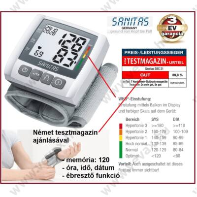 SANITAS WHO CSUKLÓS VÉRNYOMÁSMÉRŐ DIGITÁLIS AUTOMATA 2x60 memória PULZUS ÓRA NAPTÁR 3 év GARANCIA
