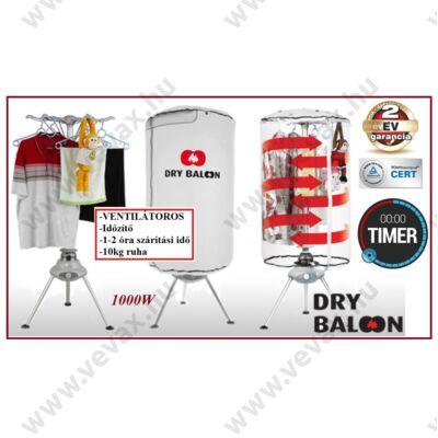 Dry Balloon Plus VENTILÁTOROS RUHASZÁRÍTÓ ÁLLVÁNY (10kg-nyi ruha) HORDOZHATÓ ELEKTROMOS TÖRÖLKÖZŐSZÁRÍTÓ IDŐZÍTŐS TÖRÖLKÖZŐ SZÁRÍTÓ 2 év GARANCIA