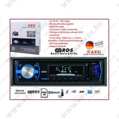 AEG Bluetooth AUTÓRÁDIÓ RDS FEJEGYSÉG 4x40W MP3 SD ID3 text track skip MAPPA funkció 3 év GARANCIA