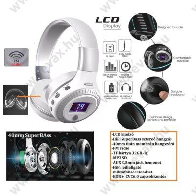 ProInstrument 6in1 WH LCD DIGITÁLIS BLUETOOTH FEJHALLGATÓ / FM / MIKROFONOS HEADSET / FM rádió / MP3 / 32GB SD TF / AUX / VEZETÉK NÉLKÜLI WIRELESS 3 év GARANCIA
