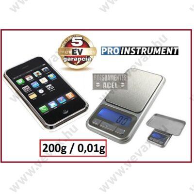 iPhone Design 200g - 0,01g INOX DIGITÁLIS ÉKSZERMÉRLEG ZSEBMÉRLEG ZSEB MÉRLEG ÉKSZER MÉRLEG LEVÉLMÉRLEG 5 év GARANCIA