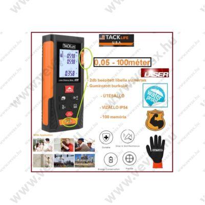 100m TackLife 2xLibellas LÉZERES TÁVOLSÁGMÉRŐ 100 méter 100 memória LCD 4 SOROS DIGITÁLIS IP54 vízálló 0,05 - 100m távolságmérés 5 év GARANCIA
