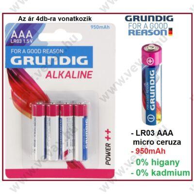 4db GRUNDIG Power++ LR03 1,5V ALKÁLI MIKRO CERUZA ELEM  AAA tip 950mAh TARTÓS 4db/csomag ÁRON