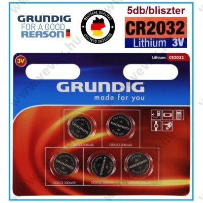GRUNDIG Premium CR2032 LITHIUM GOMBELEM 5db / bliszter 3V elem