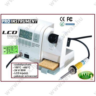 ProInstrument DigiWork DIGITÁLIS FORRASZTÓÁLLOMÁS 50W 150-450°C 230/24V FORRASZTÓPÁKA ÁLLOMÁS SZABÁLYOZHATÓ 2 soros LCD KIJELZŐVEL