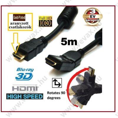 5m Gold HDMI - HDMI KÁBEL HDCP 2x 90° ARANYOZOTT DERÉKSZÖGŰ FEJJEL 5 méter FULL HD 3 év GARANCIA