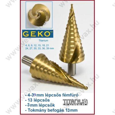 GekO Titanium 4-39mm 13 LÉPCSŐS FÉMFÚRÓ 3mm LÉPCSŐ FÚRÓ