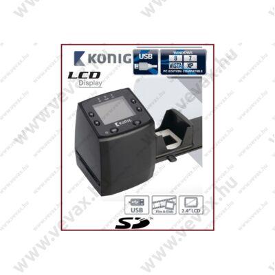 KÖNIG 5MP LCD monitoros USB FILMSZKENNER 35mm DIGITALIZÁLÓ FILM ÉS DIA SZKENNER FILMOLVASÓ DIASZKENNER CSFILMSCAN200 2 év GARANCIA