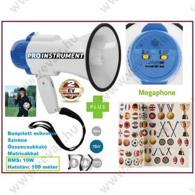 ProInstrument Mini MEGAFON 100 MÉTER 15W + SZIRÉNA FUNKCIÓVAL HANGOSBESZÉLŐ  2 év GARANCIA