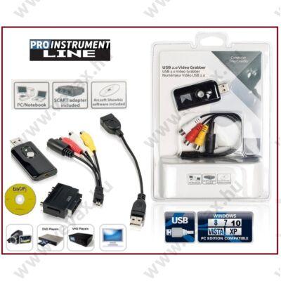 ProInstrument GRABBER USB DIGITALIZÁLÓ KONVERTER KÉSZLET ANALÓG VIDEO - AUDIO VHS ARCHIVÁLÓ + CD SZOFTVER