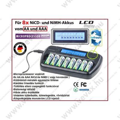 8 CELLÁS ProInstrument LCD DIGITÁLIS KISÜTŐS CERUZA AKKUTÖLTŐ AA / AAA Ni-Mh MIKROPROCESSZOR VEZÉRELT 8 rekeszes AUTOMATA AKKUMULÁTORTÖLTŐ 2 év GARANCIA