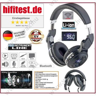 ProInstrument PureSound 4in1 LCD DIGITÁLIS BLUETOOTH FEJHALLGATÓ 32GB SD / FM rádió / MP3 / AUX / VEZETÉK NÉLKÜLI WIRELESS 2 év GARANCIA