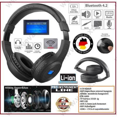 ProInstrument 3in1 LCD DIGITÁLIS BLUETOOTH FEJHALLGATÓ 32GB SD / FM rádió / MP3 / AUX / VEZETÉK NÉLKÜLI WIRELESS 2 év GARANCIA