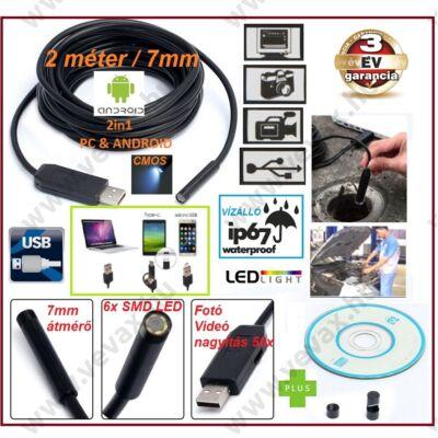 2in1 ProInstrument PC & ANDROID OTG 2 méter / 7 mm USB ENDOSZKÓP KAMERA OKOSTELEFON / PC / TABLET CMOS OBJEKTÍV IP67 VÍZÁLLÓ 6x SMD LED FOTÓ / VIDEÓ 50x NAGYÍTÁS 3 év GARANCIA